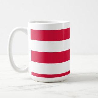 Crimson Horizontal Stripes; Striped Classic White Coffee Mug