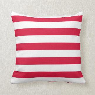 Crimson Horizontal Stripes Striped Pillows