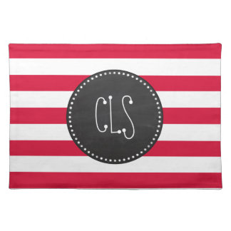Crimson Horizontal Stripes Striped Place Mat