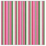 [ Thumbnail: Crimson, Hot Pink, Dark Green & Mint Cream Lines Fabric ]