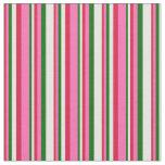 [ Thumbnail: Crimson, Hot Pink, Dark Green & Mint Cream Lines Fabric ]