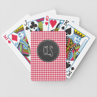 Crimson Houndstooth; Retro Chalkboard Bicycle Playing Cards