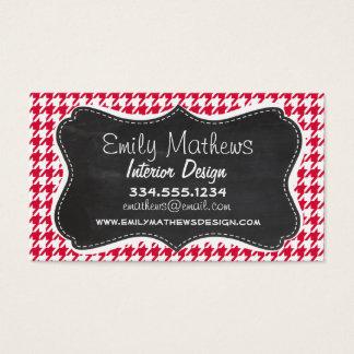Crimson Houndstooth; Retro Chalkboard Business Card