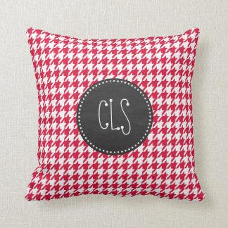 Crimson Houndstooth Retro Chalkboard Pillow