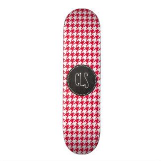 Crimson Houndstooth; Retro Chalkboard Skateboard Deck