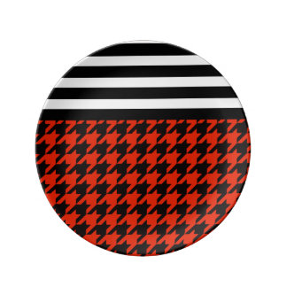 Crimson Houndstooth w/ Stripes 2 Plate