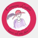 Crimson Ladies Have all the Fun Round Stickers
