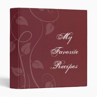 Crimson Leafy Swirl Recipe Book 3 Ring Binder