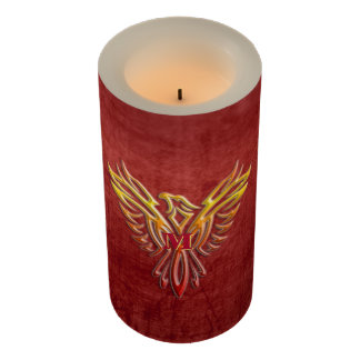Crimson leather-look, Flame color Phoenix Rising Flameless Candle