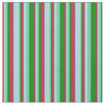 [ Thumbnail: Crimson, Light Blue, Aquamarine & Green Pattern Fabric ]