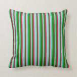 [ Thumbnail: Crimson, Light Blue, Aquamarine & Green Pattern Throw Pillow ]