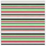 [ Thumbnail: Crimson, Light Green, Black & Light Cyan Colored Fabric ]