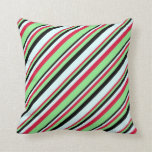[ Thumbnail: Crimson, Light Green, Black & Light Cyan Colored Throw Pillow ]