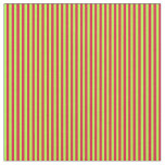 [ Thumbnail: Crimson & Light Green Colored Lines Fabric ]