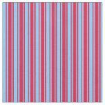 [ Thumbnail: Crimson & Light Sky Blue Lined Pattern Fabric ]