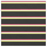 [ Thumbnail: Crimson, Light Yellow, Yellow, and Black Stripes Fabric ]