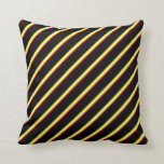 [ Thumbnail: Crimson, Light Yellow, Yellow, and Black Stripes Throw Pillow ]