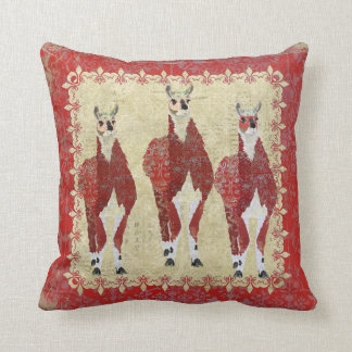 Crimson Llamas Boho Mojo Pillow