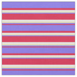 [ Thumbnail: Crimson, Medium Slate Blue, Tan & White Stripes Fabric ]