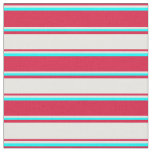 [ Thumbnail: Crimson, Mint Cream, and Cyan Colored Lines Fabric ]