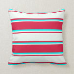 [ Thumbnail: Crimson, Mint Cream, and Cyan Colored Lines Pillow ]