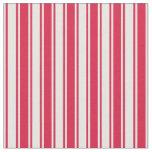 [ Thumbnail: Crimson & Mint Cream Colored Pattern Fabric ]