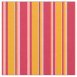 [ Thumbnail: Crimson, Orange, and Light Pink Stripes Fabric ]