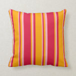 [ Thumbnail: Crimson, Orange, and Light Pink Stripes Pillow ]