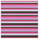 [ Thumbnail: Crimson, Orchid, Lavender & Black Colored Stripes Fabric ]