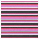 [ Thumbnail: Crimson, Orchid, Lavender & Black Colored Stripes Fabric ]