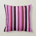 [ Thumbnail: Crimson, Orchid, Lavender & Black Colored Stripes Throw Pillow ]
