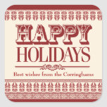 Crimson Ornate Borders Holiday Sticker