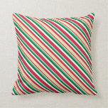 [ Thumbnail: Crimson, Pale Goldenrod, Turquoise, Green & White Throw Pillow ]