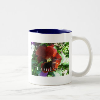 Crimson Pansy Thank You Two-Tone Coffee Mug