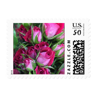 Crimson pink baby rosebuds for your wedding postage