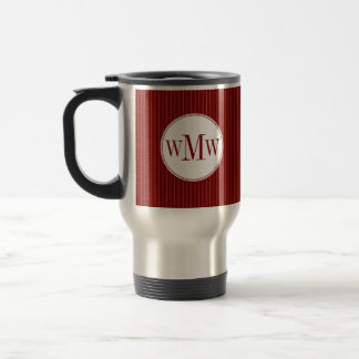 Crimson Pinstripe Monogram Mug
