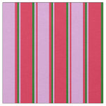 [ Thumbnail: Crimson, Plum, and Dark Green Striped Pattern Fabric ]