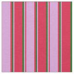 [ Thumbnail: Crimson, Plum, and Dark Green Striped Pattern Fabric ]
