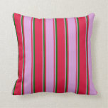 [ Thumbnail: Crimson, Plum, and Dark Green Striped Pattern Throw Pillow ]