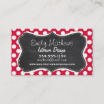 """Crimson Polka Dots; Chalkboard look Business Card<br><div class=""""desc"""">You will love this cute,  elegant,  vintage chalkboard design with Crimson Polka Dots   pattern design!  We invite you to our store,  Baby Shower Boutique,  to view this cool retro blackboard design on many more great customizable products,  including retro Baby Shower invitations and baby boy &amp; girl gifts!  Thank you!</div>"""