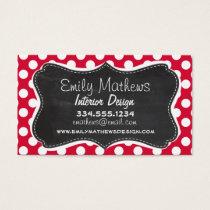 Crimson Polka Dots; Chalkboard look Business Card