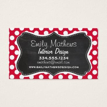 Toddler & Baby themed Crimson Polka Dots; Chalkboard look Business Card