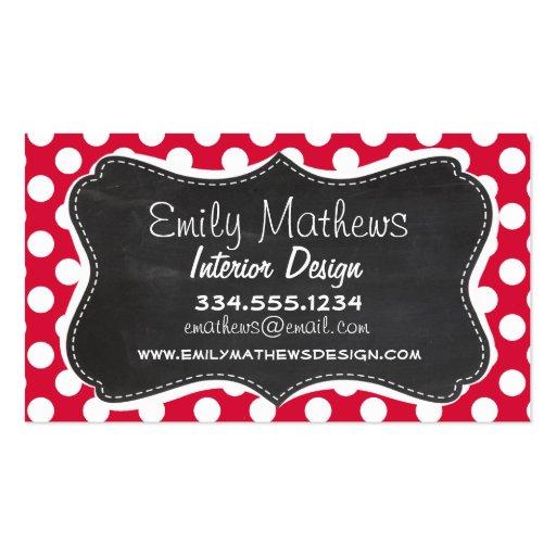 Crimson Polka Dots; Chalkboard look Business Card Templates
