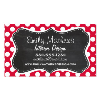 Crimson Polka Dots; Chalkboard look Double-Sided Standard Business Cards (Pack Of 100)