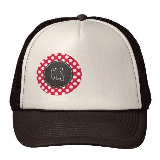 Crimson Polka Dots; Chalkboard look Mesh Hats