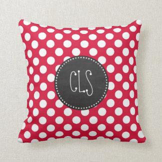 Crimson Polka Dots Chalkboard look Pillow