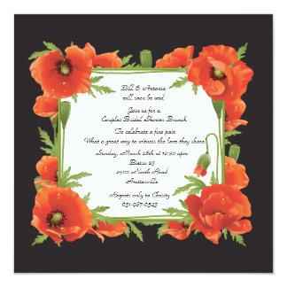 Crimson Poppies Couples Wedding Shower Invitation