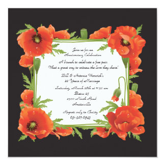 Crimson Poppies Invitation