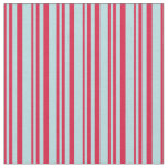 [ Thumbnail: Crimson & Powder Blue Colored Stripes Pattern Fabric ]