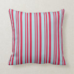 [ Thumbnail: Crimson & Powder Blue Colored Stripes Pattern Throw Pillow ]